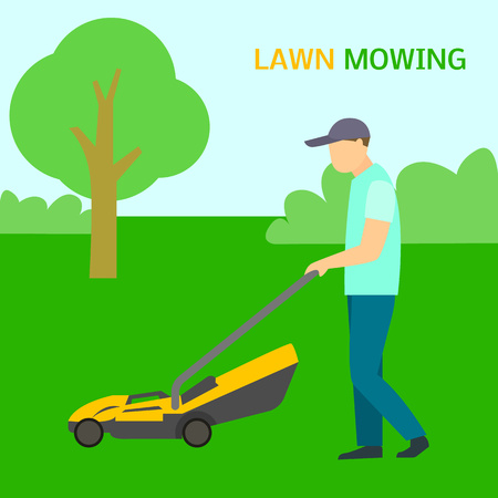 Man lawn mowing concept background. Flat illustration of man lawn mowing vector concept background for web design 일러스트