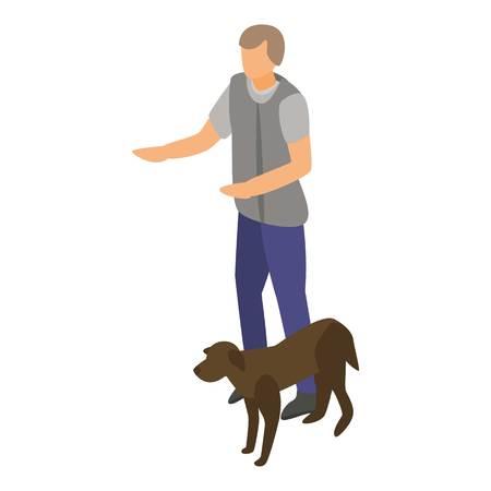 Man keep dog training icon. Isometric of man keep dog training vector icon for web design isolated on white background Illustration