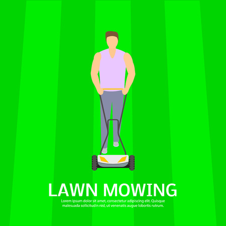 Lawn mowing sport field concept background, flat style