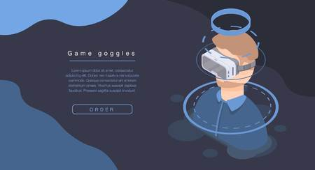 Game goggles concept banner, isometric style Illustration