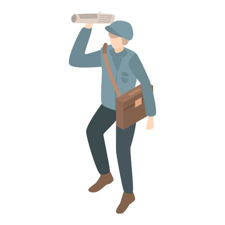 Postman gives newspaper icon. Isometric of postman gives newspaper vector icon for web design isolated on white background