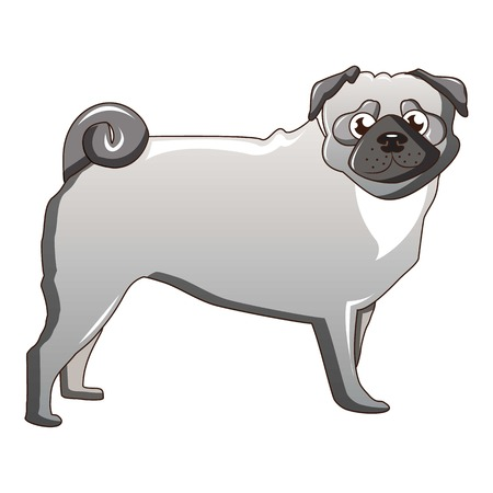 Silver pug dog icon, cartoon style