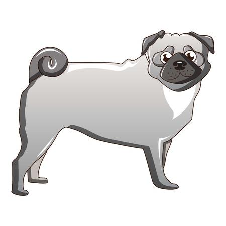 Silver pug dog icon, cartoon style