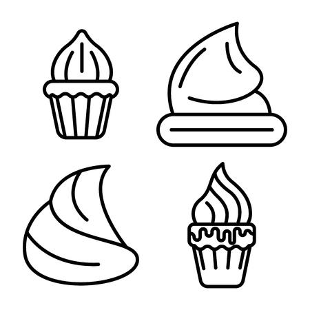 Meringue icons set, outline style Vector Illustration