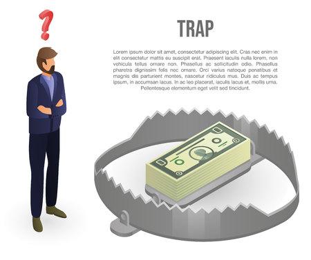 Money trap concept banner, isometric style Vektoros illusztráció