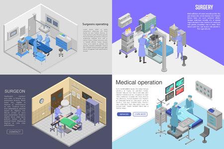 Surgeons operating banner set. Isometric set of surgeons operating vector banner for web design