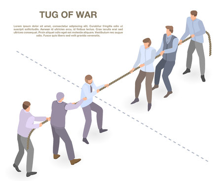Tug of war concept banner, isometric style