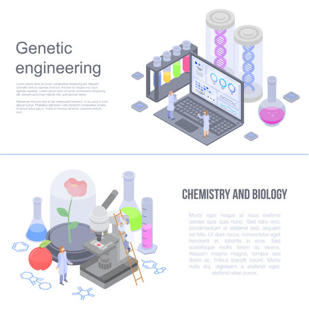 Genetic engineering banner set. Isometric set of genetic engineering vector banner for web design