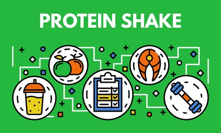 Protein shake banner, outline style
