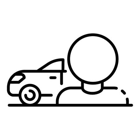 Man sell car icon. Outline man sell car vector icon for web design isolated on white background