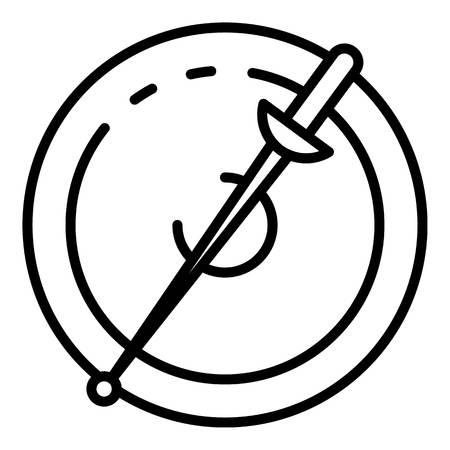 Fencing sword and shield icon, outline style