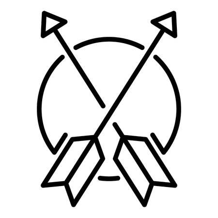 Przekreślona ikona strzałki metalu. Zarys skrzyżowane metalowe strzałki wektor ikona do projektowania stron internetowych na białym tle Ilustracje wektorowe