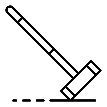 Croquet mallet icon, outline style