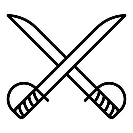 Cross sword fencing icon. Outline cross sword fencing vector icon for web design isolated on white background
