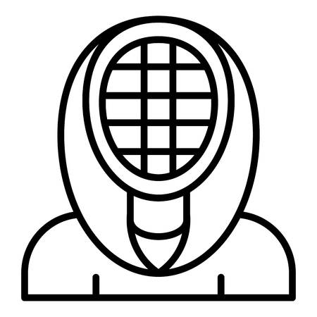Fencing mask icon. Outline fencing mask vector icon for web design isolated on white background