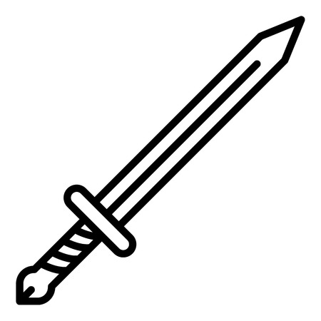 Sword icon. Outline sword vector icon for web design isolated on white background 向量圖像
