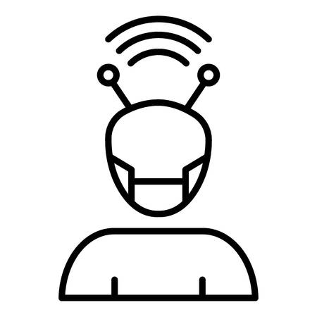 Cyborg icon, outline style