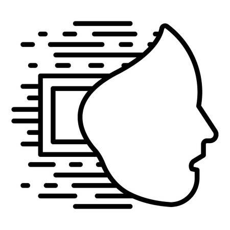 Humanoid face icon, outline style Ilustração