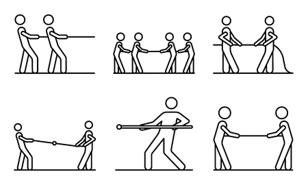 Tug of war icons set, outline style
