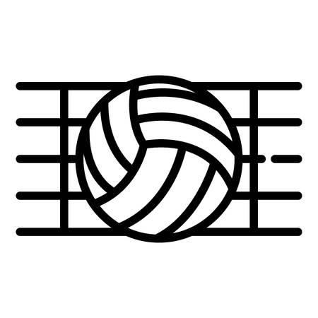 Bola en un icono de red de voleibol, estilo de contorno