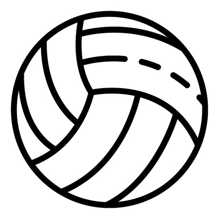 White volleyball ball icon. Outline white volleyball ball vector icon for web design isolated on white background