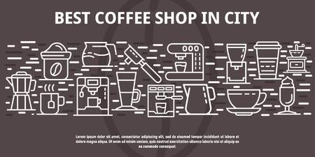 Best coffee shop in city banner, outline style Illustration