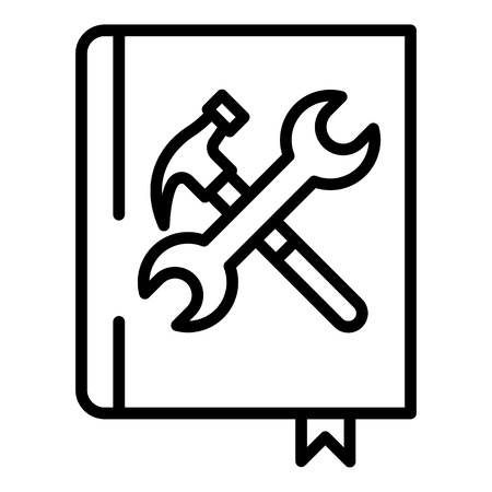 User guide book icon, outline style Illustration