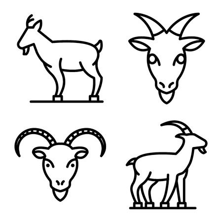 Goat icons set, outline style Vektoros illusztráció