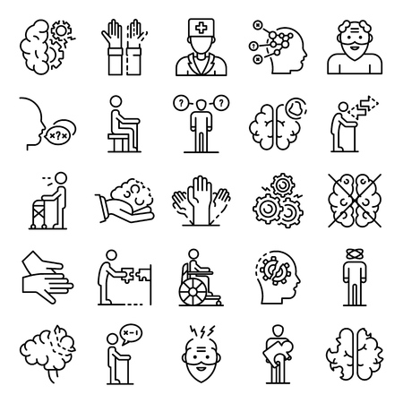 Alzheimers disease icons set, outline style