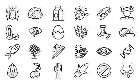 Food allergy icons set. Outline set of food allergy vector icons for web design isolated on white background