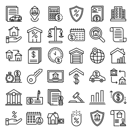 Mortgage icons set, outline style Иллюстрация