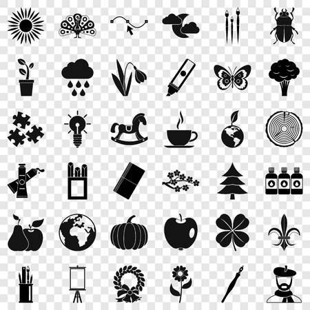 Eco art icons set, simple style