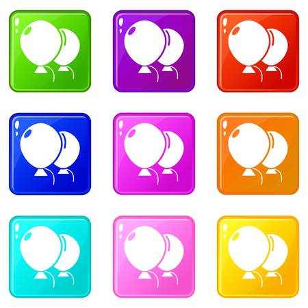 Wedding ballons icons set 9 color collection isolated on white for any design Illustration