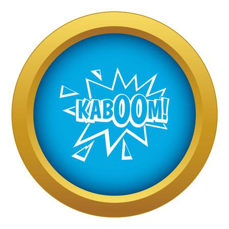 Kaboom, explosion icon blue vector isolated Illustration