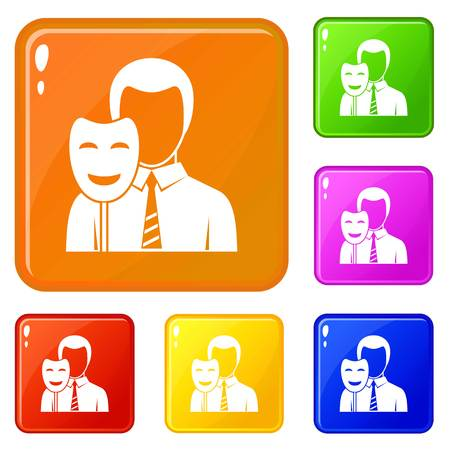 Businessman holding smile mask icons set collection vector 6 color isolated on white background Vettoriali