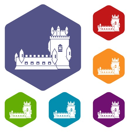 History castle icons vector hexahedron