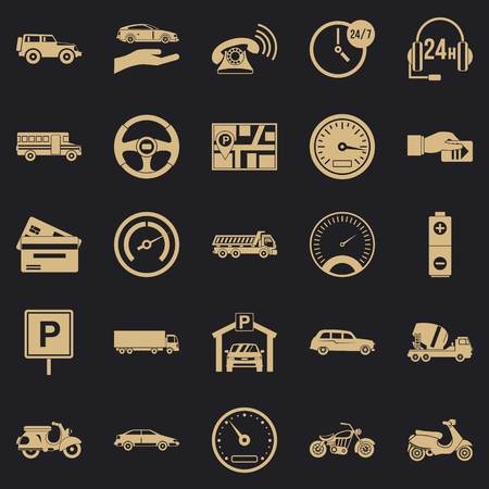 Parking icons set. Simple set of 25 parking vector icons for web for any design
