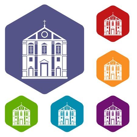 Church icons vector hexahedron