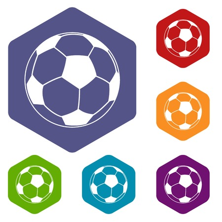 Football icons vector hexahedron
