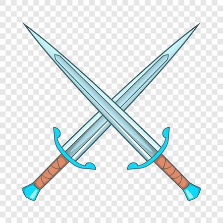 Crossed swords icon, cartoon style