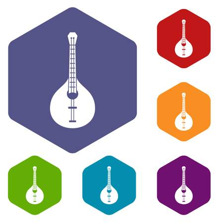 Guitar icons vector hexahedron