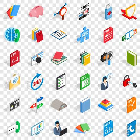 Internet learning icons set, isometric style Illustration