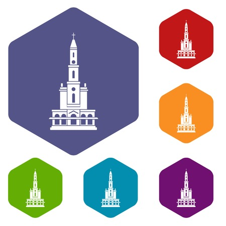 Big castle icons vector hexahedron Illustration