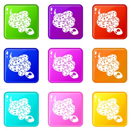 Anaconda snake icons set 9 color collection isolated on white for any design