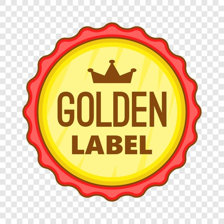 Golden label icon. Cartoon illustration of golden label vector icon for web