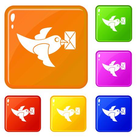 Pigeon fly with mail icons set vector color