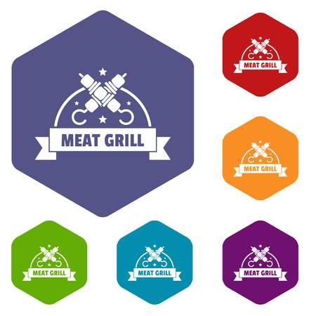 Meat grill icons vector hexahedron  イラスト・ベクター素材