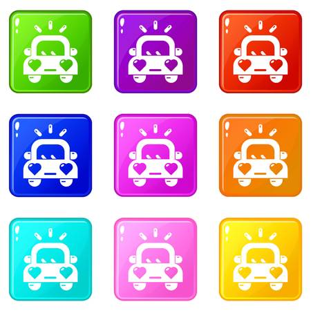 Wedding car icons set 9 color collection isolated on white for any design