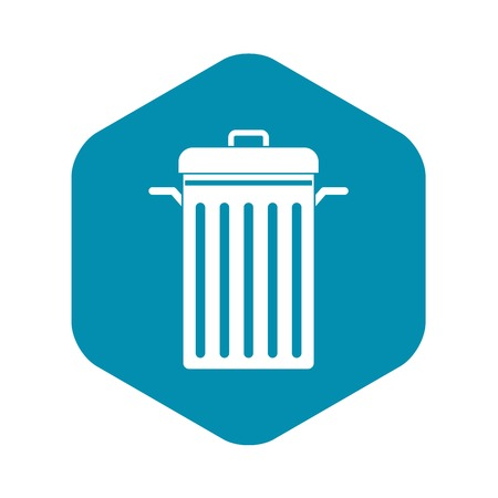 Metal trash can icon, simple style
