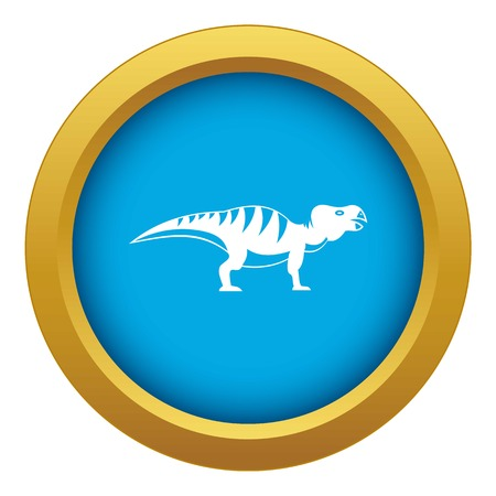 Hadrosaurid dinosaur icon blue vector isolated